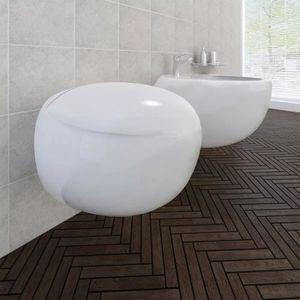 CUVETTE WC SEULE Cuvette WC suspendue et bidet suspendu en céramiqu