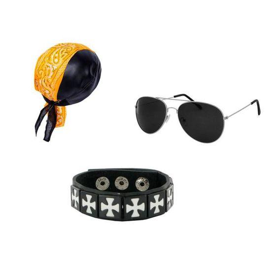 1666449fee1236 Kit de déguisement Biker  3 pièces  zandana + lunettes + bracelet (KV-77) accessoires  parfait pour compléter votre tenue - Achat   Vente chapeau - perruque ...