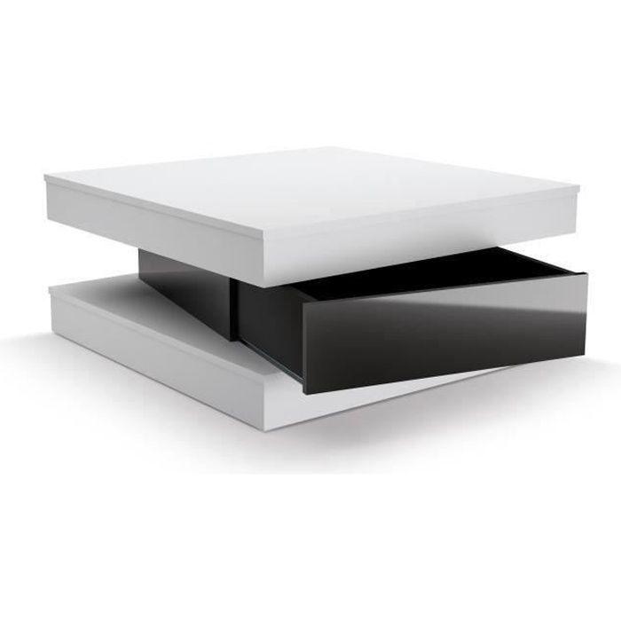 fixy table basse 80 cm blanc et noir brillant achat vente table basse fixy table basse. Black Bedroom Furniture Sets. Home Design Ideas