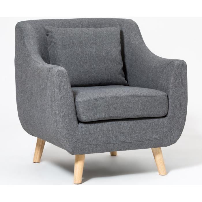 Fauteuil design scandinave nordik tissus gris foncé
