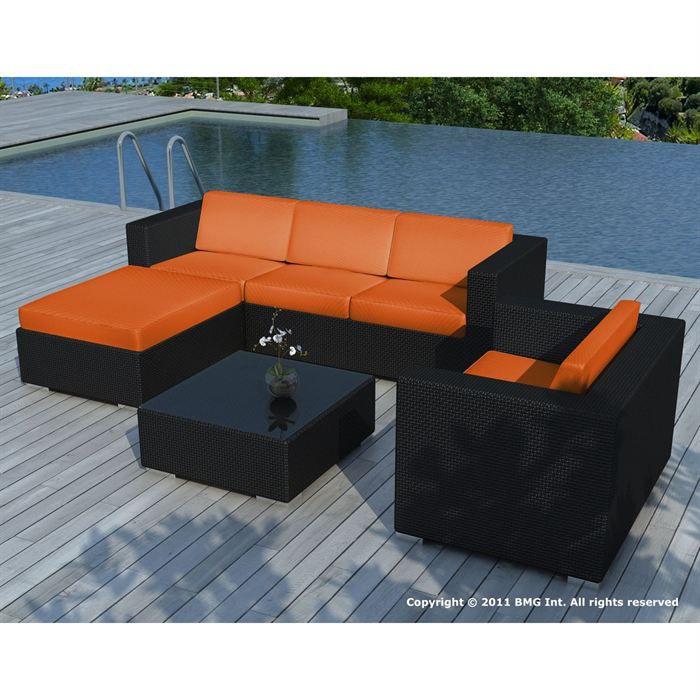 Salon de jardin Noir coussin Orange - SD8201 - Achat / Vente salon ...