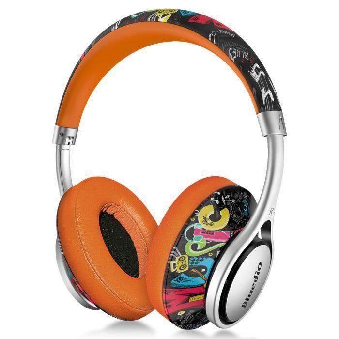 Bluedio A2 Casque Bluetooth Stéréo Sans Fil Léger A La Mode Avec Microphone Orange