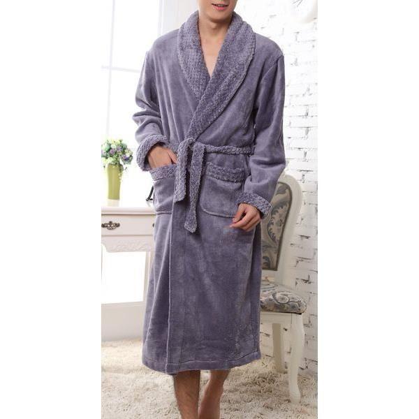 Robe de chambre homme grise col ch le epais achat vente robe de chambre cdiscount - Achat robe de chambre homme ...