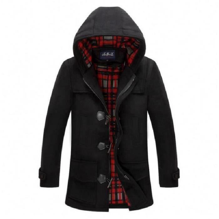 Coat Duffle Blouson Veste Homme Noir Manteau Long rrdaZ
