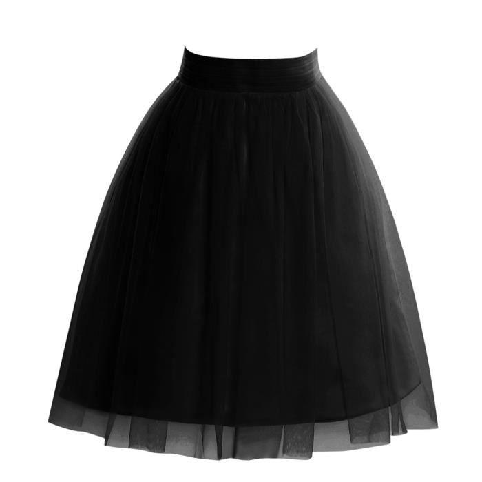 jupe tutu trap ze de bal mi longue en tulle bien bouffant 3 couches noir uni pour femme fille. Black Bedroom Furniture Sets. Home Design Ideas
