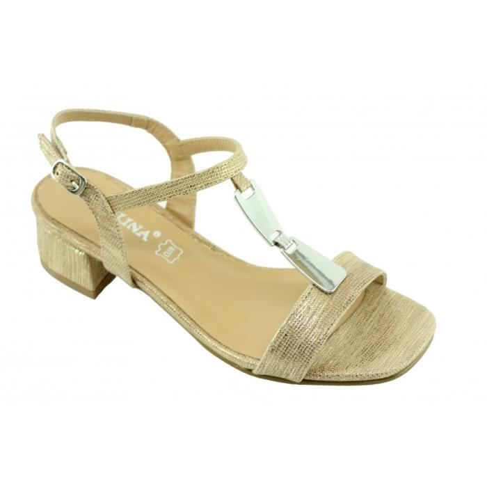 Janinette – sandales bride et bijoux chaussure talon moyen pour Femme fabriqué en Espagne marque Angelina cuir doré or