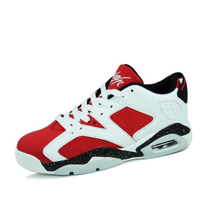 Basket Hommes et femmes Coussin d'air Chaussures de course Respirant - Blanc-rouge