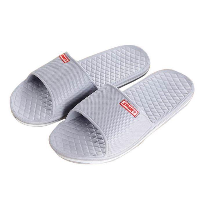 Hommes Chaussons pantoufles et bain de plats pantoufles extérieur Gris Solide d'été intérieur r5qvr