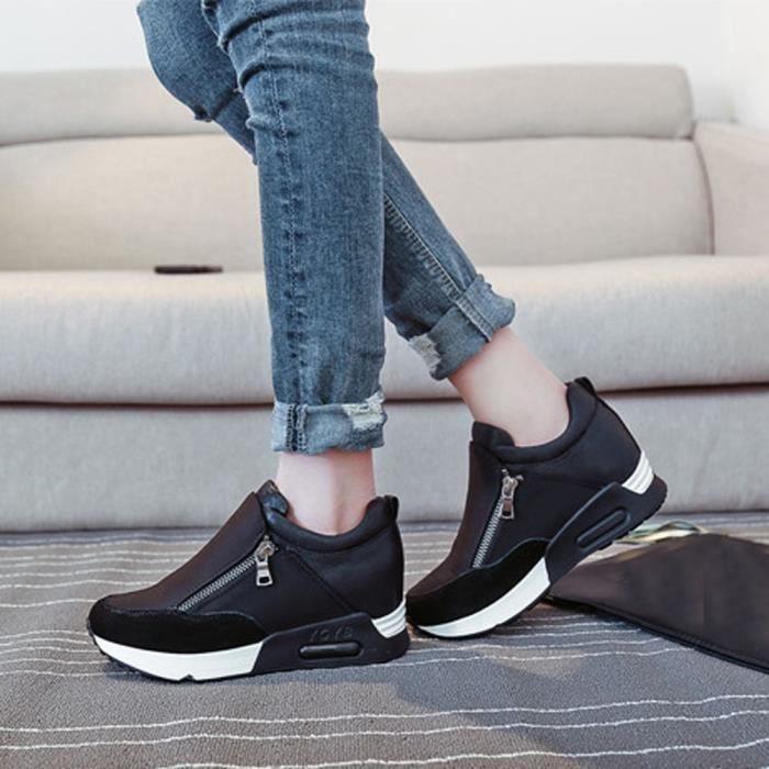 Femmes Mode Sneakers Sports Courir Randonnée Épaisseur Plate-Forme Plate Chaussures Noir ASD679