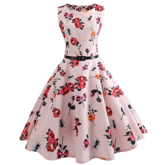 Manches Femmes Impression Prom De Swing Vintage Sans Robe Soirée xfRfUq