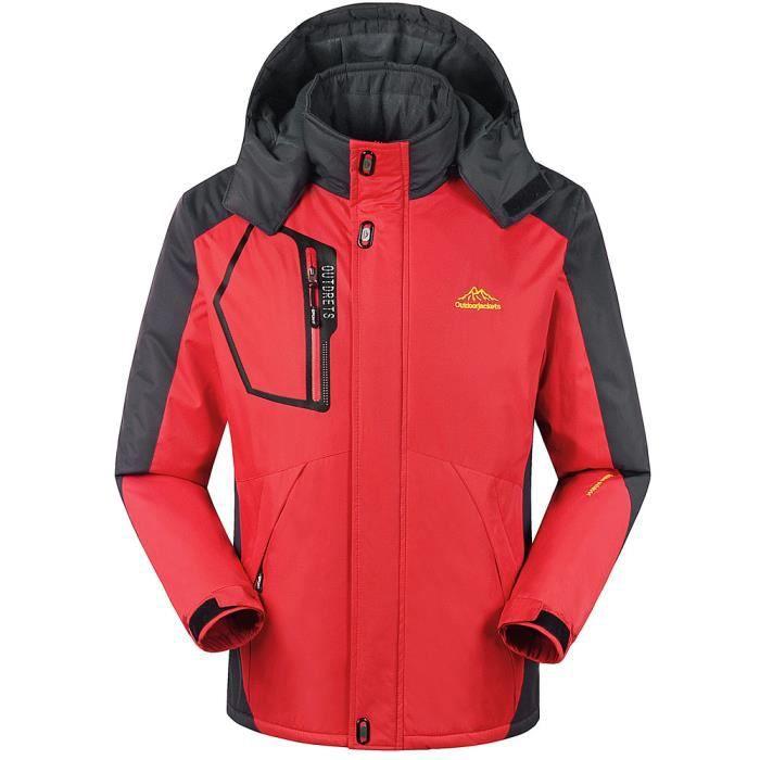 Capuche Outdoor Rouge Sport D'hiver D'extérieur Manteau Zipper Cachemire Épaississement Hommes À Assault w6qTX84