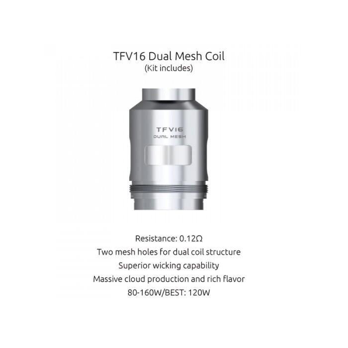 PIÈCE E-CIGARETTE Pack De 3 Résistances Dual Mesh 0,12ohm Tfv16 Smok