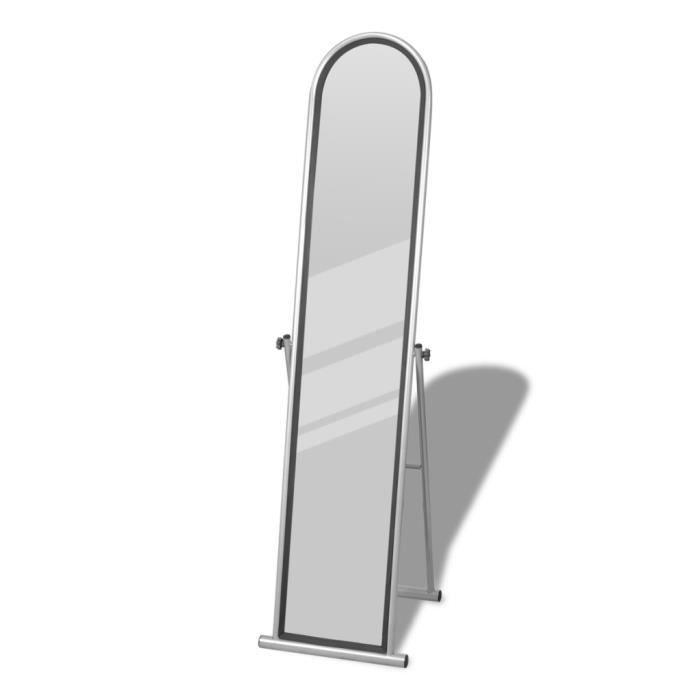 Miroir en acier laqué sur pied Gris style élégant décor de chambre ...