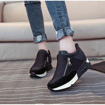 Femmes Mode Sneakers Sports Courir Randonnée Épaisseur Plate Forme Plate Chaussures Noir ASD679