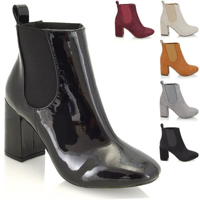Womens Synthetic Elasticated High Block Heel Chelsea Boots RBNBO Taille-38