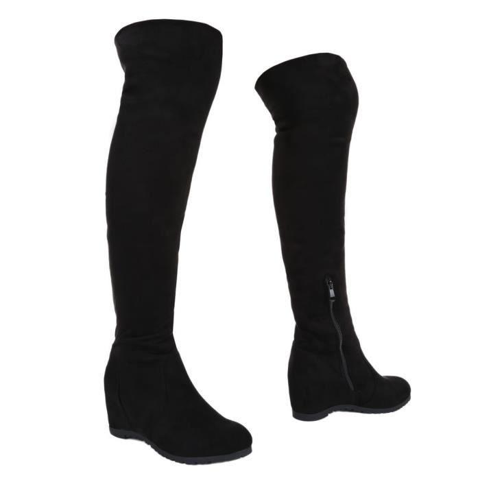 femme botte chaussure semelle à talon compensé Wedges cuissarde noir
