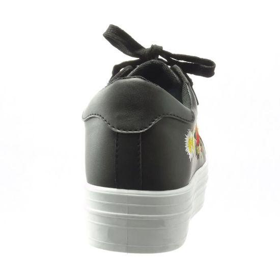 Angkorly - Chaussure Mode Baskets bi-matière plateforme femme fleurs brodé brillant Talon compensé plateforme 4 CM - Noir - C-245 T 9b4Tj