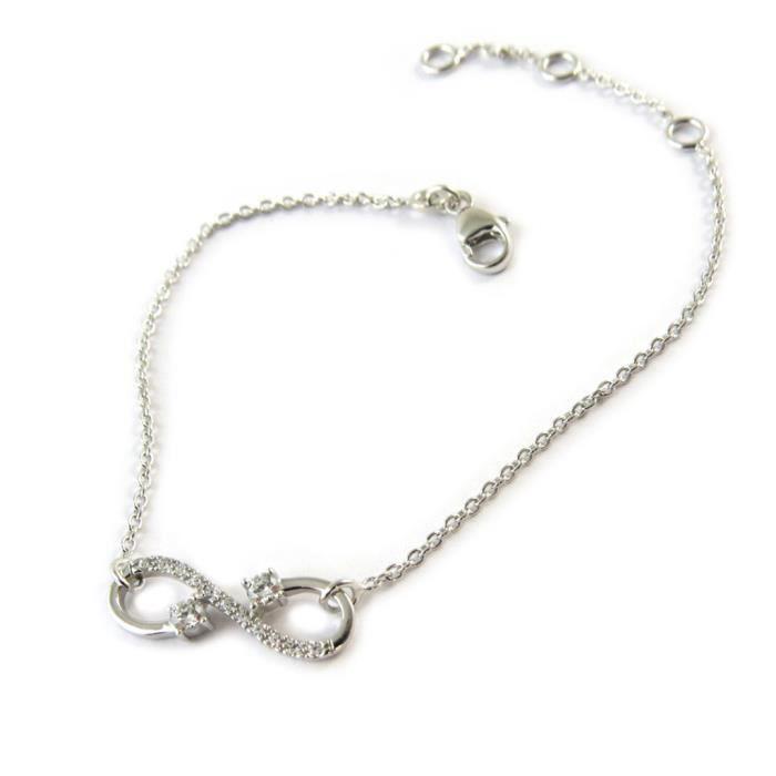 Bracelet argent Infini blanc argenté (rhodié)... [P0643]