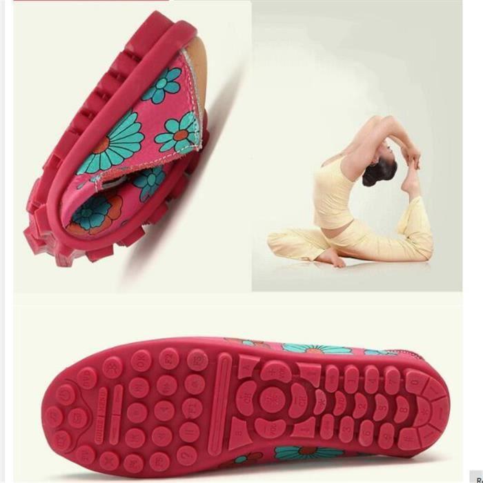 Mocassins femmes Printemps Femmes Casual Chaussures Véritable En Cuir D'impression Chaussures Mode Glissement Sur Appartements