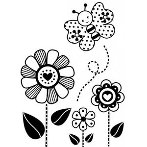 TAMPON DÉCORATIF Tampon bois 'Aladine - Naissance' Fleurs et Papill
