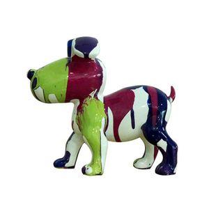 STATUE - STATUETTE Petit chien sculpture décorative museau vert - des