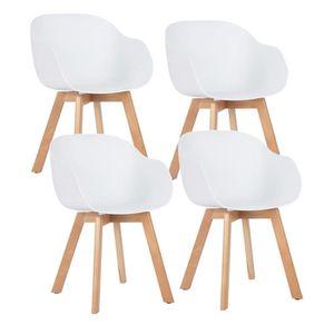 CHAISE HOMY CASA Lot de 4 chaises scandinave blanches pla