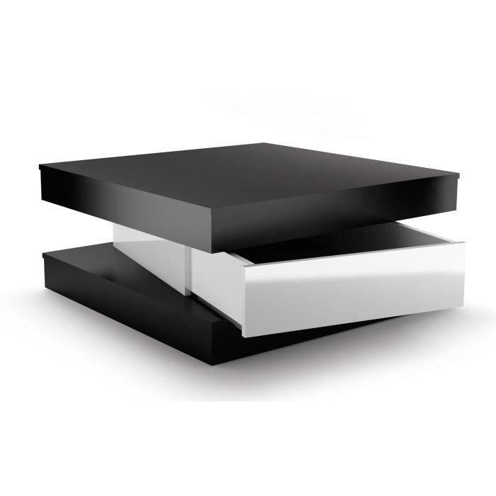 Fixy Table Basse Carree Style Contemporain Noir Et Blanc Brillant L 80 X L 80 Cm