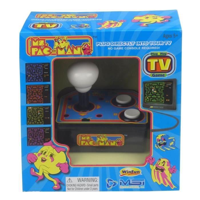 Console avec jeu vidéo intégré Ms Pacman TV Arcade Plug & Play