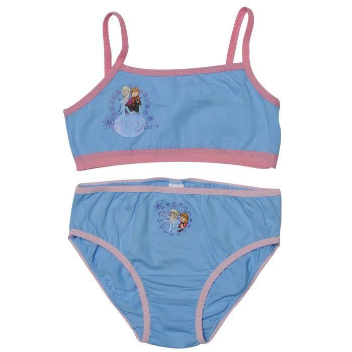 REINE DES NEIGES Lot de sous-vêtements T-shirt et Culotte Bleu Enfant Fille