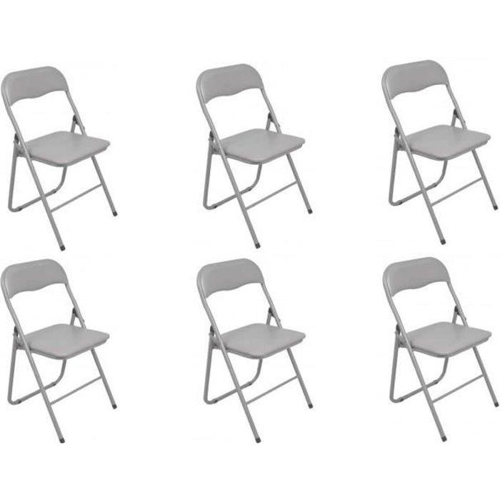 Croissant Lot de 6 chaises pliantes grise Autres Gris - Achat / Vente chaise YZ-06