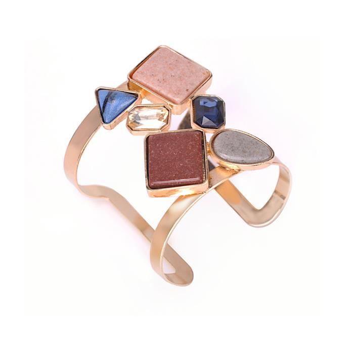 Bracelet tendance esprit glamour en métal plaqué or rose et grosse pierres demi précieuses AGATHE