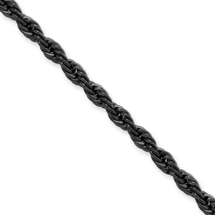 Ip-Acier inoxydable-Noir - 55 cm 4 mm corde chaîne collier - 22 -