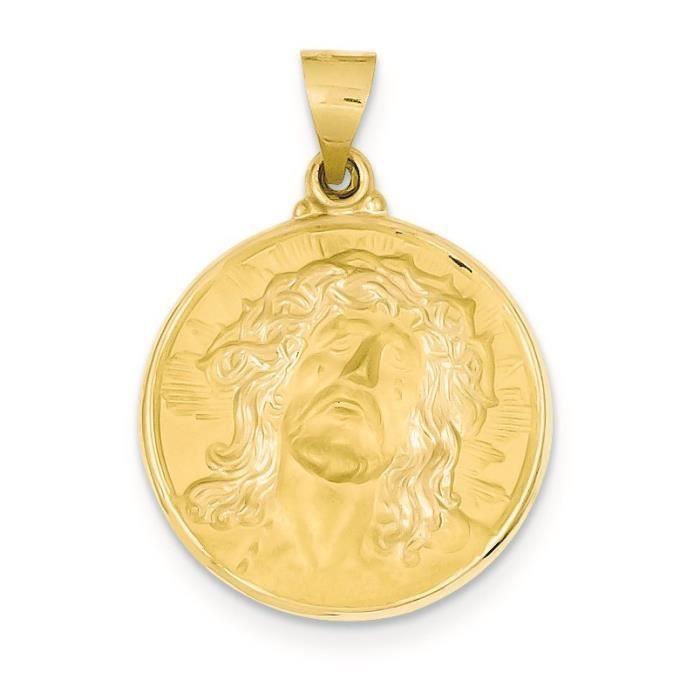 14 carats poli et satiné visage de Jésus médaille pendentif