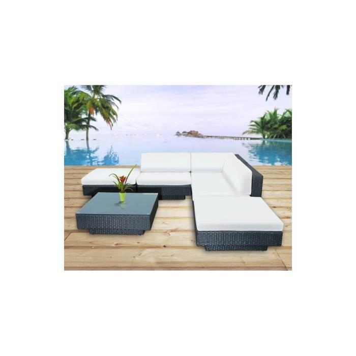 Magnifique salon de jardin en resine tressee luxe d angle, poly ...