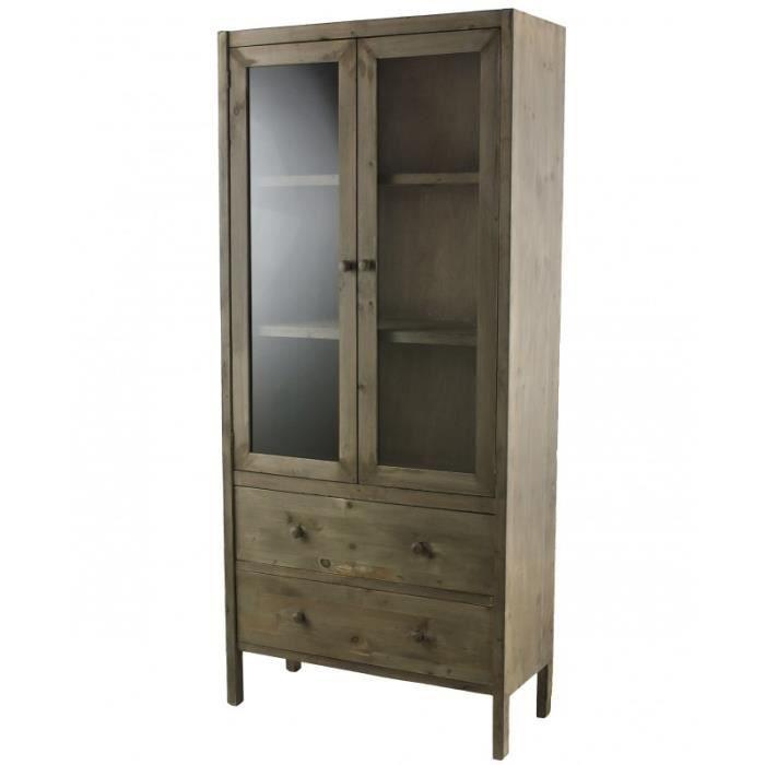 Meuble de rangement armoire vitrine vaisselier - Meuble rangement bibliotheque ...
