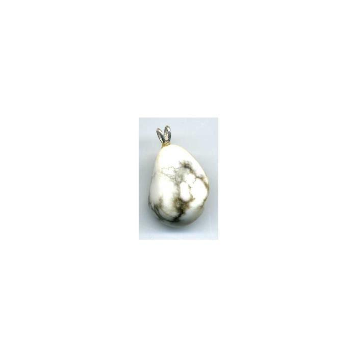 Pendentif Howlite avec pyrite EXTRA avec Bélière argent