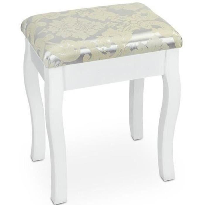 tabouret pour coiffeuse en blanc achat vente coiffeuse tabouret pour coiffeuse en cdiscount. Black Bedroom Furniture Sets. Home Design Ideas