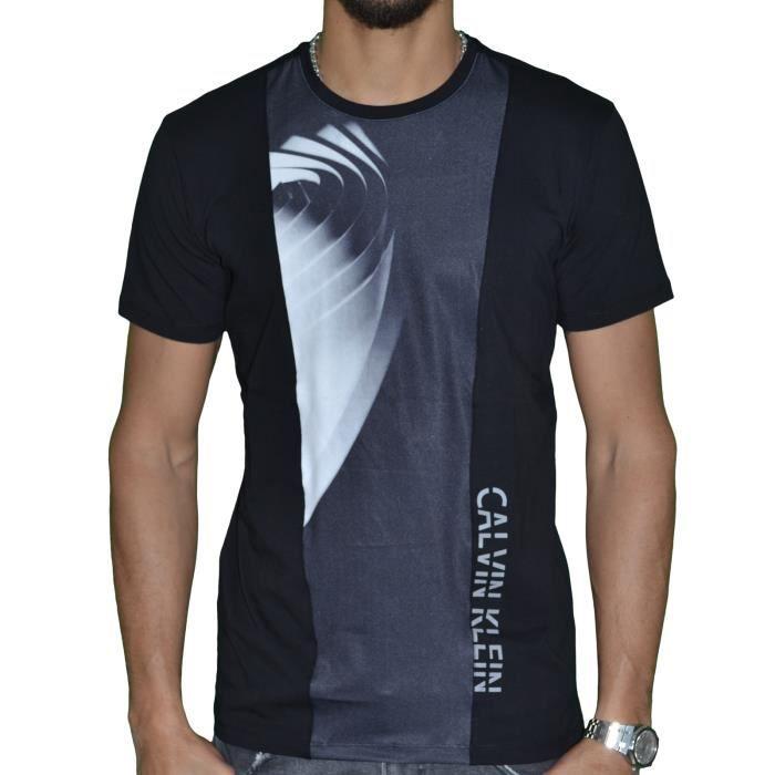 ac8315e6ca31b Calvin Klein - T Shirt Manches Courtes - Homme - Tornade - Noir Noir ...