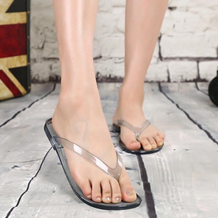 XZ833D5XZ833D5Été Femmes Effacer chiquenaude Thong flops pantoufles plage Sandales plates Chaussures Casual