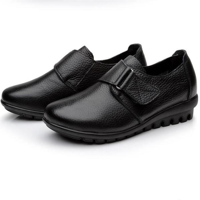 Chaussures Femme Printemps Été Comfortable Cuir Chaussure ZX-XZ063Noir43 FvzheX