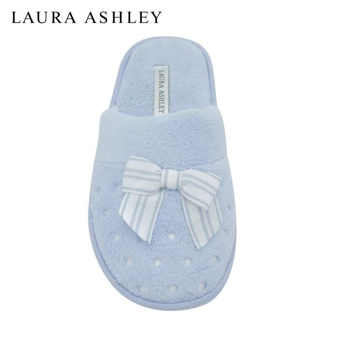 Ladies Soft Terry Slippers With Scuff Dots And Embroidered Bow BFTC8 Taille-XL