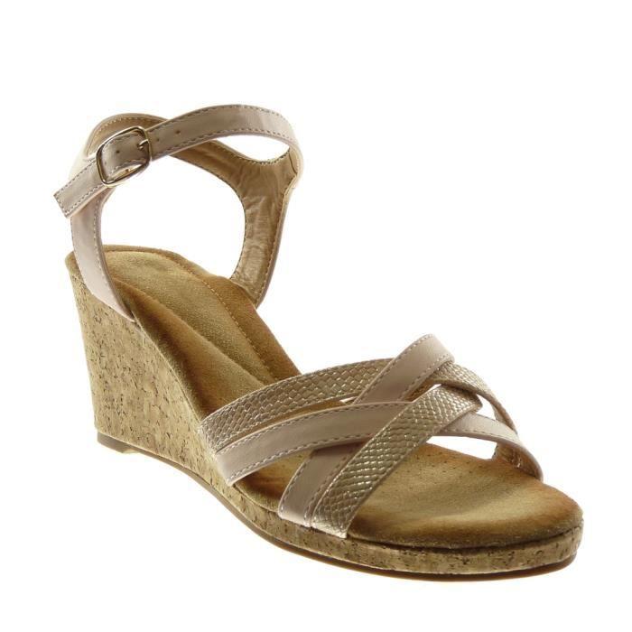 Angkorly - Chaussure Mode Sandale lanière cheville femme multi-bride peau de serpent liège Talon compensé 7.5 CM - Rose - XH1039 T