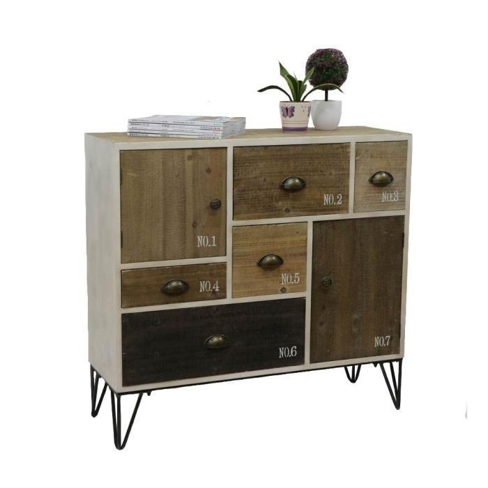 Buffet en bois style industriel patchwork LAZURO - Achat / Vente ...