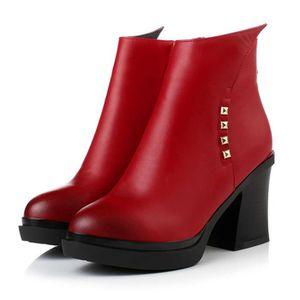 coton de pour et femmes avec chaussures chaudes bottes zipper bottes Automne velours talons des occas épaisse hauts à plus hiver ndUwSSqYT
