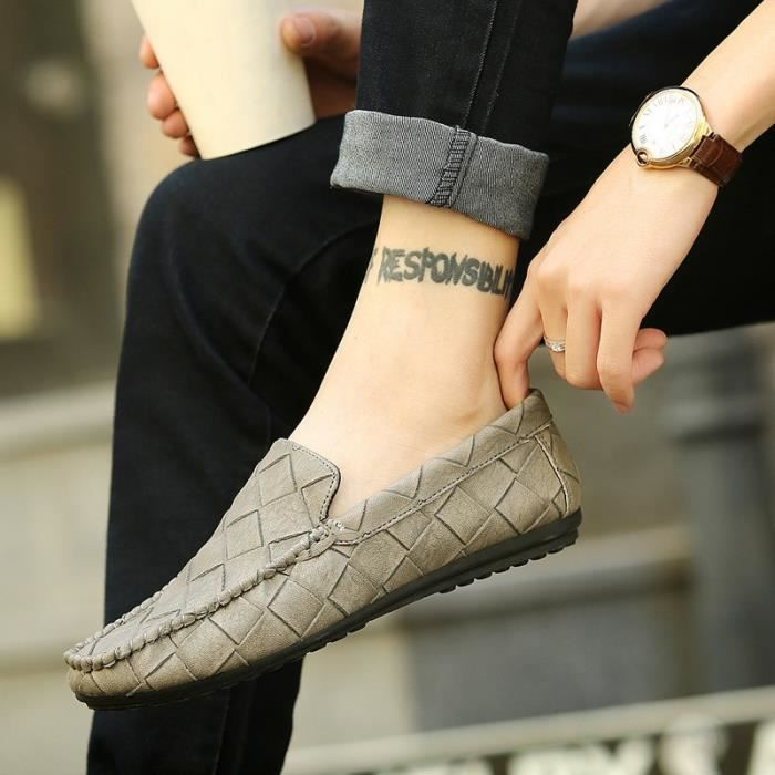 souplenoir44 Chaussures en Flats arrivée Hommes Mocassins Chaussures confortable Nouvelle Slip noir44 sur conduite Casual cuir de Hq16n1w78