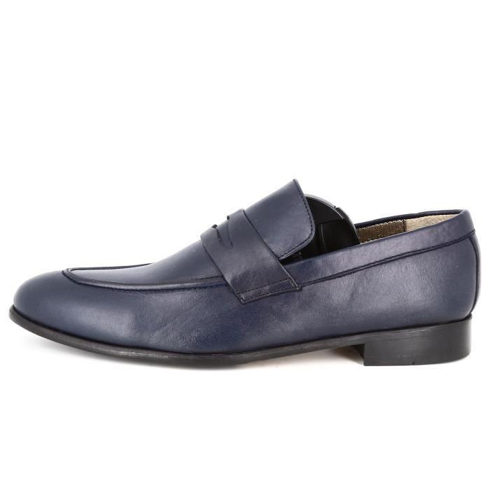 Belym Chaussure Homme de Ville en Cuir Bleu Marine