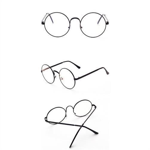 Round Vintage Lunettes à lentilles pour hommes et femmes, lentille claire, cadre en métal
