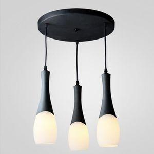 LUSTRE ET SUSPENSION 3 Lumières Noir Lustre LED Rond lampe à suspension