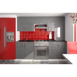 cuisine equipee gris laquee achat vente cuisine equipee gris laquee pas cher cdiscount. Black Bedroom Furniture Sets. Home Design Ideas