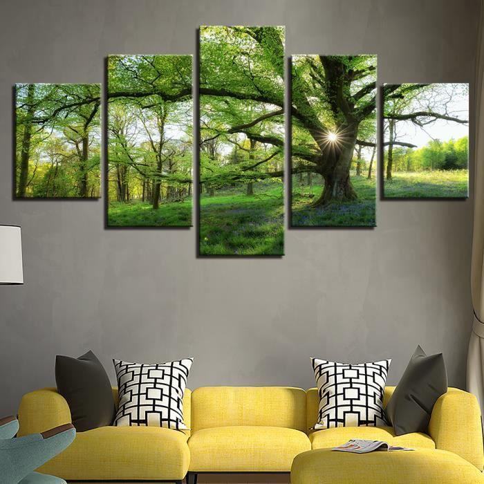 Captivant Photos Accueil Décoration HD Imprimé Peintures Modulaire Affiches Moderne 5  Panneau Vert Arbre Paysage Tableau Mur Art Toile